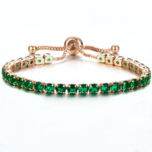 Green Sapphire Color Crystal Bracelet Gold/Silver Plated Adjustable Crystal Tennis Bracelets Women Stretch Bracelet