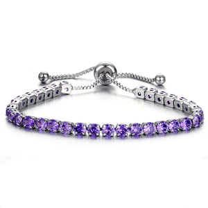 Purple Color Crystal Bracelet Gold/Silver Plated Adjustable Crystal Tennis Bracelets Women Stretch Bracelet