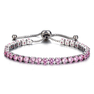 Rose Color Crystal Bracelet Gold/Silver Plated Adjustable Crystal Tennis Bracelets Women Stretch Bracelet