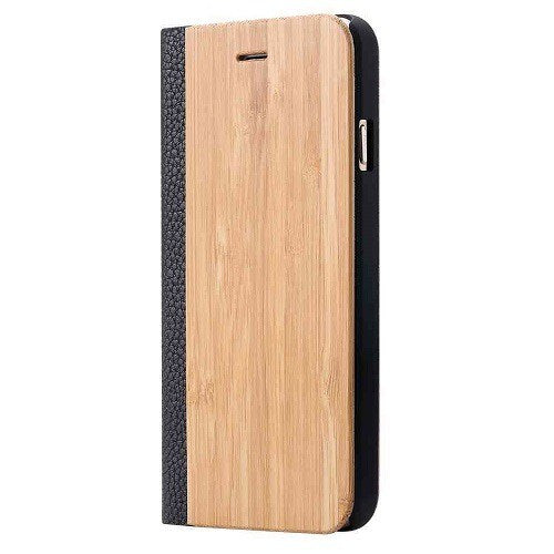 Maple Wood + Leather Wallet Flip Case For iPhone 6-6s