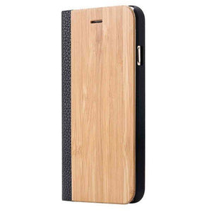 Maple Wood + Leather Wallet Flip Case For iPhone X