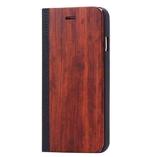 Rosewood Wood + Leather Wallet Flip Case For Samsung S6