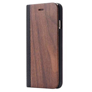 Walnut Wood + Leather Wallet Flip Case For Samsung S6