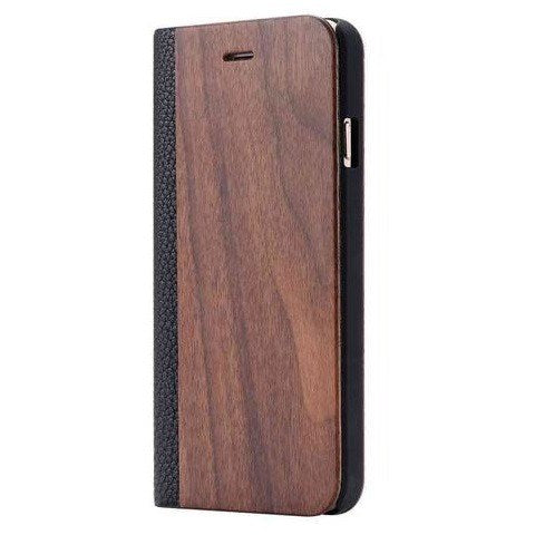 Walnut Wood + Leather Wallet Flip Case For iPhone X-Xs