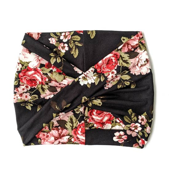 Crunchy Love Co. Twist Headband - Black Floral