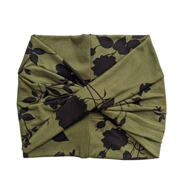 Crunchy Love Co. Twist Headband - Olive Floral