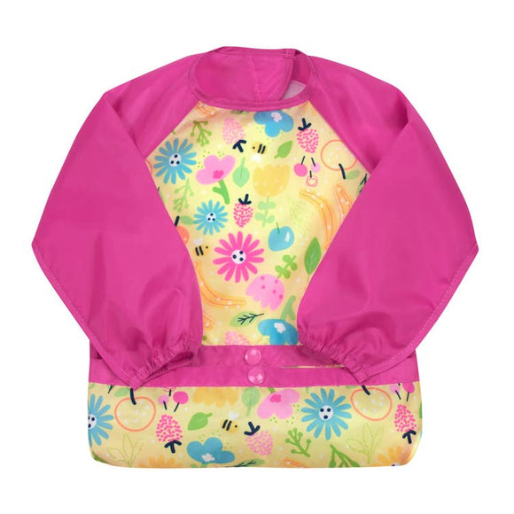 Long Sleeve Bib - Pink Bee Floral
