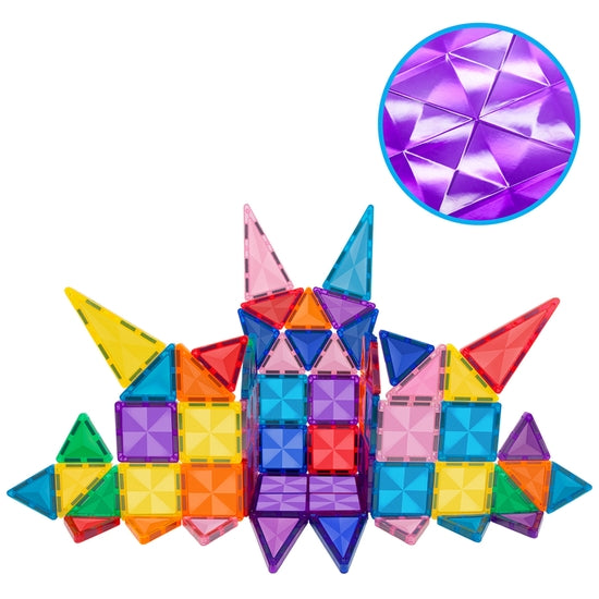 PicassoTiles 61 Piece Magnetic Blocks - Mini Diamond Series