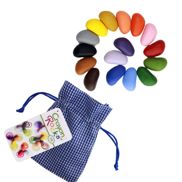 Crayon Rocks - 16 Color Crayon Blue Gingham Bag