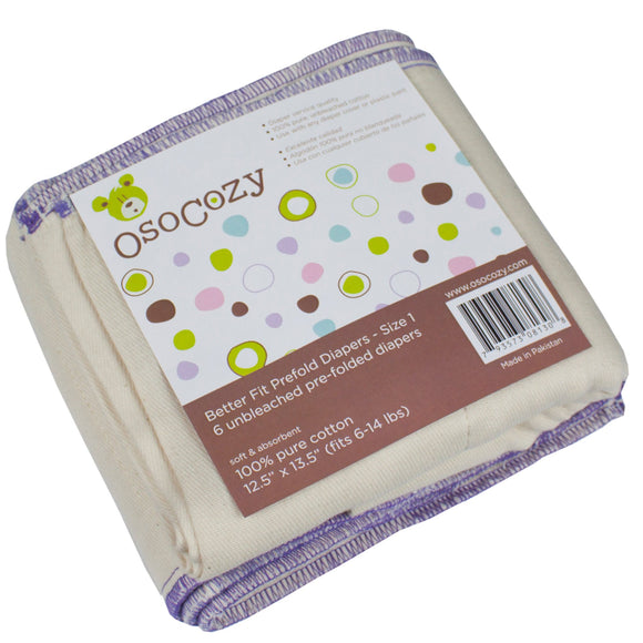 OsoCozy Better Fit Prefold - 6pk - Infant (6-14lbs)