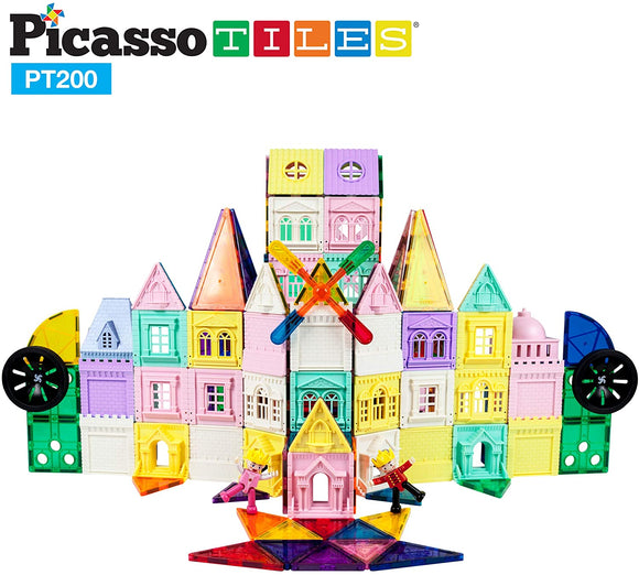 PicassoTiles 200pc Castle Magnetic Tile Set