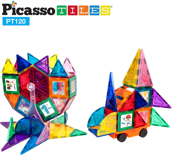 PicassoTiles 120 Piece Magnetic Tile Set