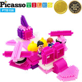 PicassoTiles Pink Castle Bristle Shape Blocks 106-Piece Basic Building Set