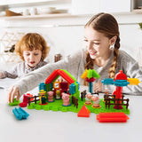 PicassoTiles Farm Theme Bristle Shape 100-Piece Basic Building Set