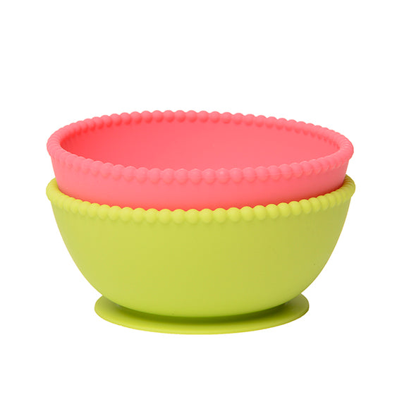Chewbeads Silicone Suction Bowls Set of 2 - Chartreuse/Pink