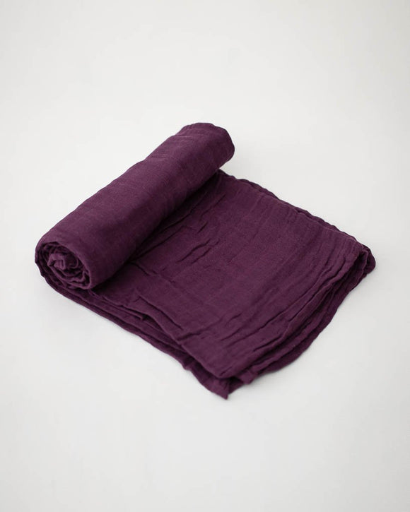 Little Unicorn Cotton Muslin Swaddle - Plum