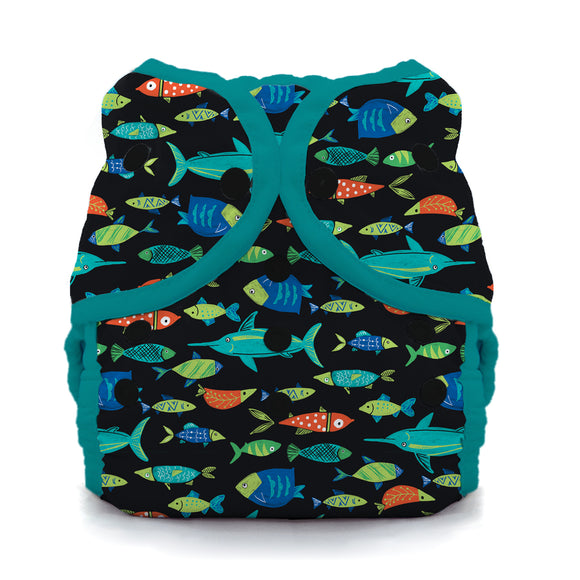 Thirsties Size Three Duo Wrap - Snaps - Fish Tales