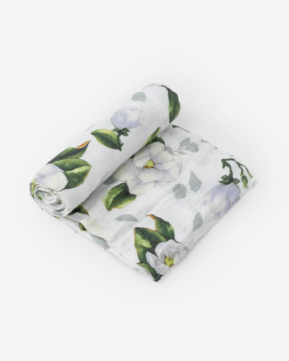 Little Unicorn Cotton Muslin Swaddle - Magnolia Blossoms