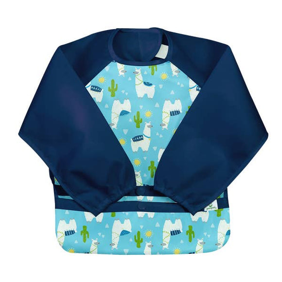 Long Sleeve Bib - Aqua Llamas