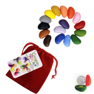 Crayon Rocks - 16 Colors in a Red Velvet Bag - ECOBUNS BABY + CO.