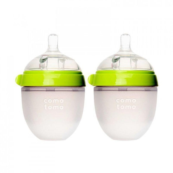 Comotomo Natural Feel Baby Bottle, Green, 5 Ounces, 2pk