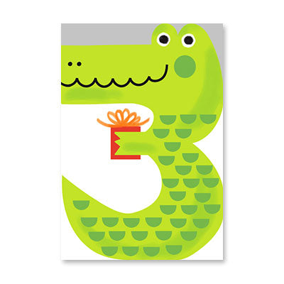 Greeting Card - Third Birthday  - Crocodile
