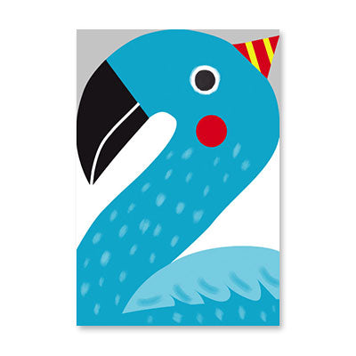 Greeting Card - Second Birthday  - Blue Flamingo