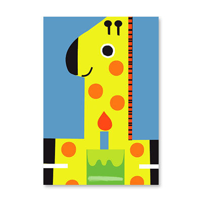 Greeting Card - First Birthday  - Giraffe with Cake