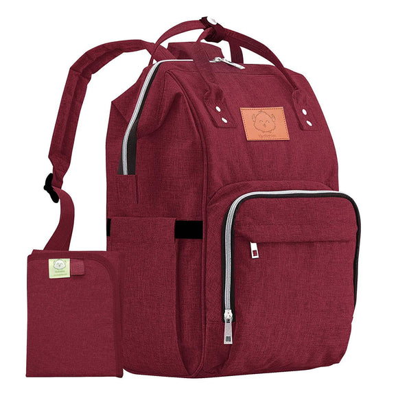 KeaBabies - Original Diaper Backpack (Wine Red)