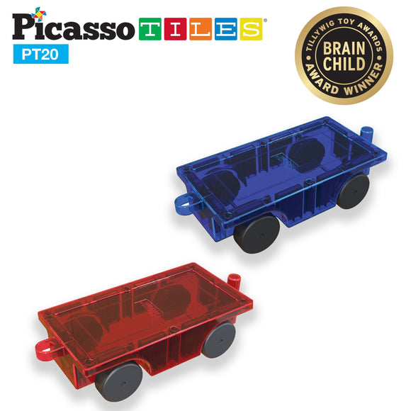 PicassoTiles 2 Piece Car Truck Set