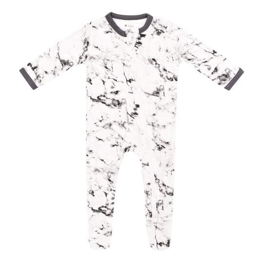 Kyte Baby Zippered Footie - Charcoal Marble