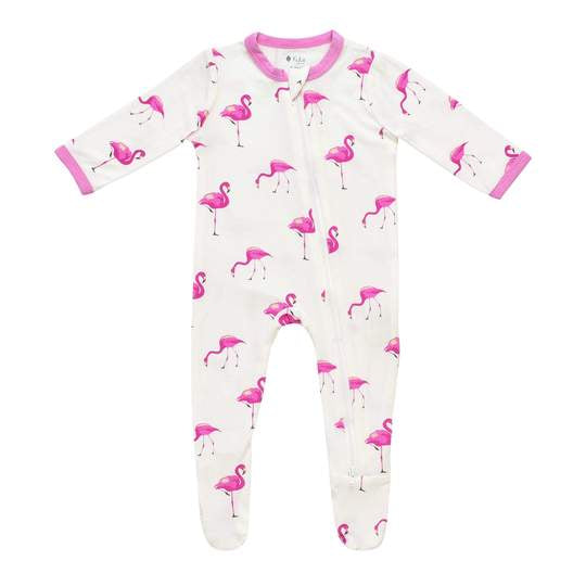 Kyte Baby Zippered Footie - Flamingo