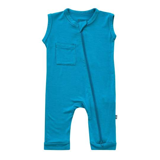 Kyte Baby Zippered Sleeveless Romper - Lagoon