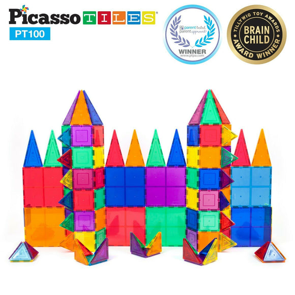PicassoTiles 100pcs Magnetic Tiles Set