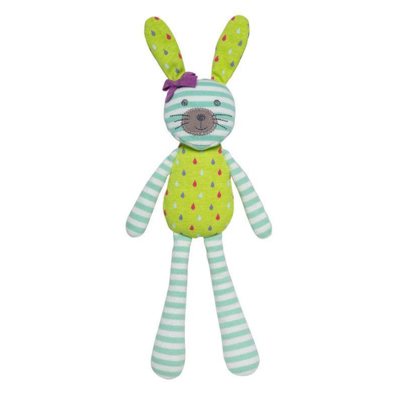 Apple Park Organic Bunny - Turquoise Stripe & Green Print - ECOBUNS BABY + CO.