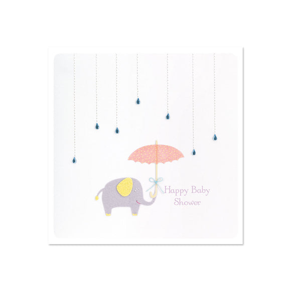 Greeting Card - Baby Shower- Umbrella & Elephant