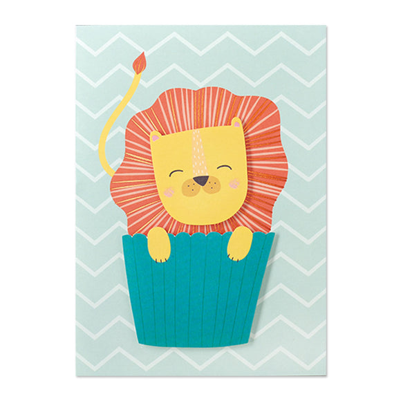 Greeting Card - Birthday Lion Cupcake