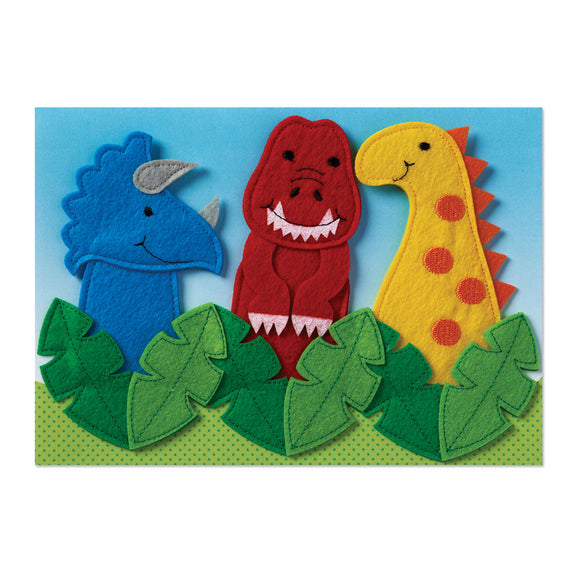 Greeting Card - Birthday Dinosaur Finger Puppets