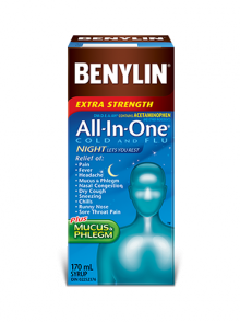 BENYLIN 1 ALL IN ONE COLD & FLU NIGHTTIME SYRUP 170ML - Queensborough Community Pharmacy