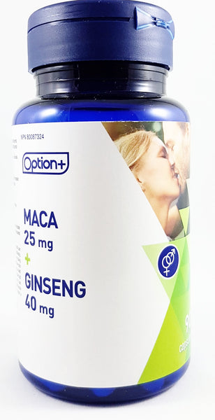 OPTION + MACA 25MG & GINSENG 40MG  90 CAPSULES