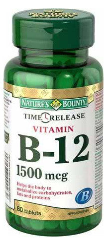 NATURES BOUNTY B-12 1500MCG TIME RELEASE 80'S - Queensborough Community Pharmacy