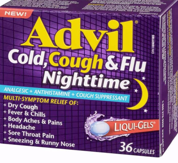 ADVIL COUGH, COLD & FLU NIGHTTIME 36'S - Queensborough Community Pharmacy