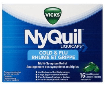 VICKS NYQUIL COLD&FLU LIQUICAPS 16'S - Queensborough Community Pharmacy