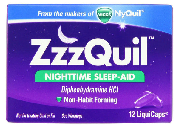 ZZZQUIL NIGHTTIME SLEEP-AID LIQUICAPS 12'S - Queensborough Community Pharmacy