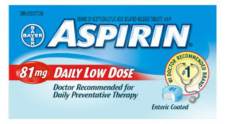 ASPIRIN COATED LOW DOSE 81MG 30'S - Queensborough Community Pharmacy