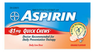 ASPIRIN 81MG QUICK CHEW TABS ORANGEFLAVOUR 100'S - Queensborough Community Pharmacy