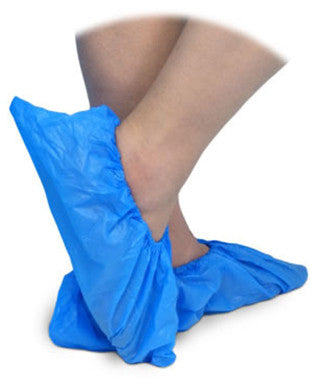AMG PLASTIC SHOE COVER (250PR) BLUE(018-285) 500'S - Queensborough Community Pharmacy