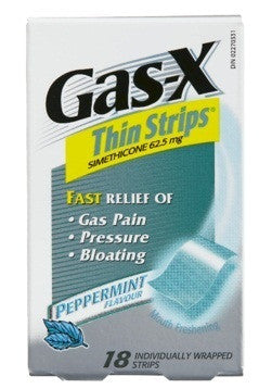 GAS-X THIN STRIPS PEPPERMINT 18'S - Queensborough Community Pharmacy