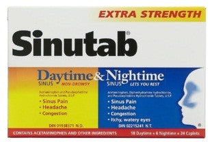 SINUTAB DAYTIME/NIGHTIME X-STR 24'S - Queensborough Community Pharmacy