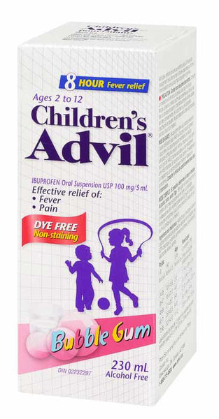 ADVIL FOR CHILD DYE FREE SUSP BUBBLE GUM 230ML - Queensborough Community Pharmacy